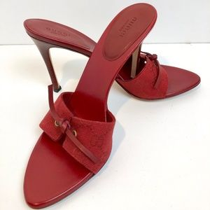 Gucci Red GG Fabric Slides with Bow Womens 9B Auth